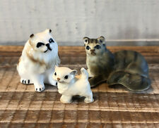 Lot 3 Vintage Miniature Ceramic Cat Kitten Figurines Hagen Renaker Persian Tabby