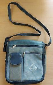 Mens Blue / Grey Vintage Vinyl Messenger Bag