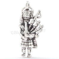 BAGPIPER Charm Pendant Bagpipe Player Celtic Scottish STERLING SILVER 925 3D