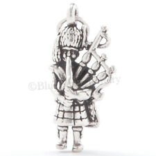 3D BAGPIPER Bagpipe Player Celtic Scottish Charm Pendant STERLING SILVER 925