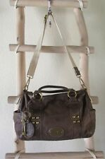 VINTAGE FOSSIL DARK BROWN PEBBLED LEATHER ML DOCTOR BAG / CROSS-BODY