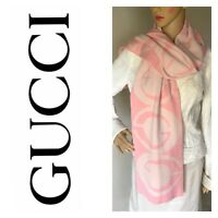 Rare Vintage Authentic Gucci 100% Wool Scarf Made In Italy Big G's