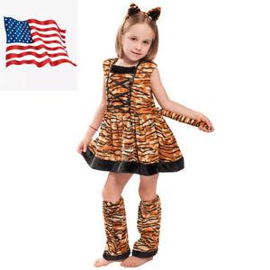 Kids Girls Striped Tiger Costume Halloween Animal Fancy Dress US