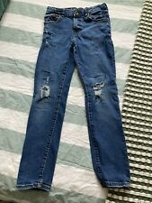 Boys Zara Dark Blue Distressed Jeans - Size 9 Years - Patched Pockets