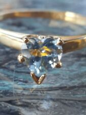Aquamarine Heart Cut Solitaire Ring 10kt Solid Yellow Gold
