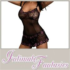 Sexy Black Floral Babydoll & Thong Revealing Lace Lingerie Size 8 10 12 14 16 18