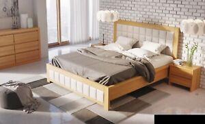 Dormitorio 3 piezas Set Cama 2x Mesa de noche Consola Dobles Hotel Tapicería