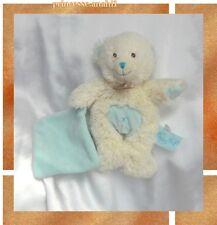 Doudou Peluche Ours Poils Blanc Mouchoir Bleu Croix Babynat'