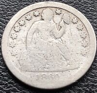 1860 S Seated Liberty Dime 10c Rare Better Grade San Francisco #15079