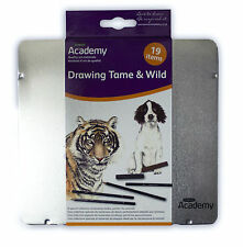 Derwent Academy Drawing Tame & Wild Animals Kit Tin Set - Pencils, Pastels, Etc