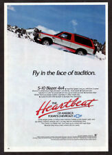 1989 CHEVROLET S-10 Blazer Vintage Original Print AD Red car photo snow mountain