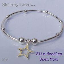 Skinny Love Sterling Silver Slim Noodle & Open Star Bracelet