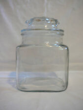 """Vintage 6.5""""  clear glass canister or apothecary jar with lid and seal."""