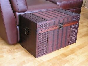 Hawaii Medium Wood Storage Trunk Wooden Hope Chest