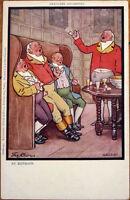 1905 Raphael Tuck Postcard: Pipe-Smoking Men, 'The Chorus' - Artist-Signed