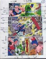 Original 1990's Avengers Wonder Man vs Captain Marvel comic book color guide art