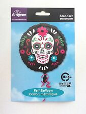 HALLOWEEN SUGAR SKULL DAY OF THE DEAD FOIL PARTY 43CM BALLOON BLACK AND BONE