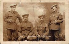 Postcards WW1 4 scottish soldiers with swagger sticks