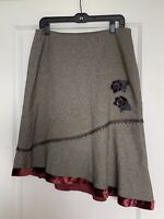 Amy K Su Tweed Asymmetrical Skirt Size 10 Plum Velvet Trim Beaded Flowers Pretty