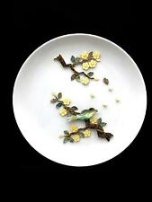 """Unusual Plate with Applied Mother of Pearl Forming 3D Picture Bird on Branch 10"""""""