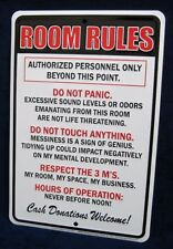 ROOM RULES - *US MADE* Embossed Metal Tin Sign -Teen Bedroom Man Cave Garage Bar