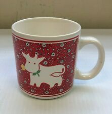 Vintage JSNY Coffee Cup Mug Cow Flower Red Floral Farm Country Collectible Used