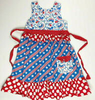 Jelly The Pug Girls 10 American 4th Of July Stras Stripes Red White Blue Dress