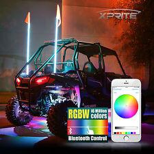 XPRITE 5FT Bluetooh Controlled RGB+W LED Whip Light for ATV UTV JEEP Off-Road