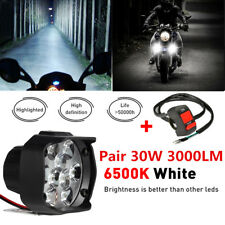 2x Motorcycle Headlight Spot Fog Lights Head Lamp 9 LED Front 15W 1500LM +Switch