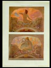 FEMMES ART NOUVEAU, D'ANDREA -1910- PHOTOLITHOGRAPHIE, CYGNE