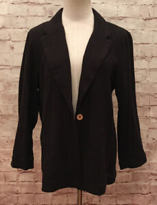 Free People Womens Black Blazer Jacket One Button Front 3/4 Sleeve Size M NEW