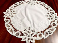 VINTAGE HAND EMBROIDERED  WHITE COTTON RIBBON LACE TABLE CENTRE CLOTH 17 Inch