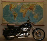 Schulwandkarte Wandkarte physische Weltkarte Erde Welt 245x141cm vintage 1981