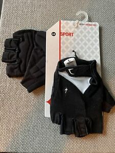 Specialized Sport Womens Half Finger Cycle Gloves/Mitts Black White - Size Large