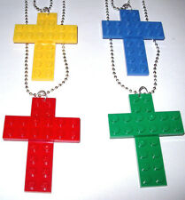 4 Custom LEGO NECKLACE Religious Cross Pendant,Party Favor, Prize,Church Gift
