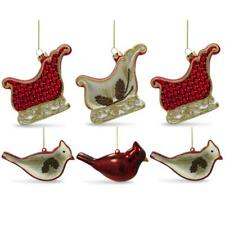Set of 6 Cardinals Birds and Sleighs Glass Christmas Ornaments 4 Inches