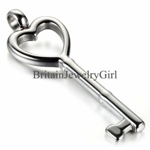 Hollowed Heart Key Pendant Necklace Stainless Steel Gift for Men Women 22 inches