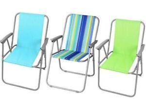Folding Steel Garden Beach Outdoor Seat Foldable Picnic Green Blue Stripe Chair