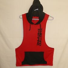 XL Gym Fitness Men Red Stringer Hoodie Tank Top Racerback Sweatshirt Sleeveless