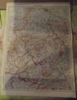 Antique 1957 Western German School Map of Vintage 1957 German Atlas
