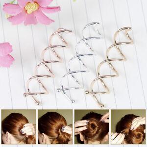10 Pcs Spiral Twist Hair Pins Spin Clips Bun Stick Pick for DIY Hair Style   SVV