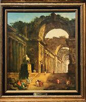 THE FOUNTAINS BY FRENCH ARTIST HUBERT ROBERT ORNATELY FRAMED ROMAN RUINS COLUMNS