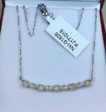 14k Solid White Gold BAR Pendant Genuine 0.20CT Diamond Necklace. Retail $1,800