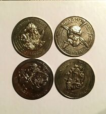 Pirates Of The Caribbean Lot Of 4 Money Coins Token Tookie Loonie Tv Movie Rare