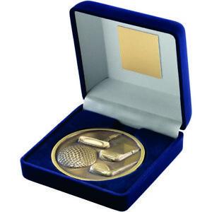 Golf Awards - Blue Velvet Box And 70mm Medallion Golf  (4 Variations)
