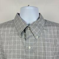 Jos A Bank Signature Wrinkle Free Gray White Check Mens Dress Button Shirt XL