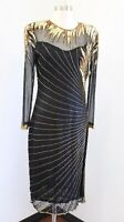 Vtg Black Gold Silk Beaded Sequin Mesh Flapper Party Dress Size S Gatsby Evening