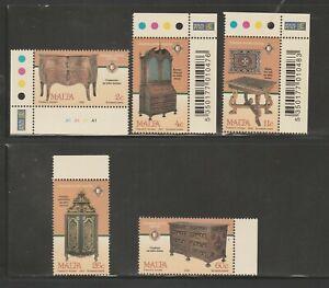 Malta 2002 Antique Furniture Complete Set SG 1247 - 1251 Unmounted Mint