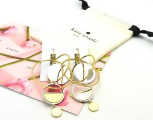 NWT $128 Kate Spade SET THE TONE GOLD SILVER HOOPS ORBIT STATEMENT EARRINGS