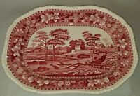 "Vintage Copeland Red Spode Tower Platter England Old Transfer Mark 12-3/4"" Long"